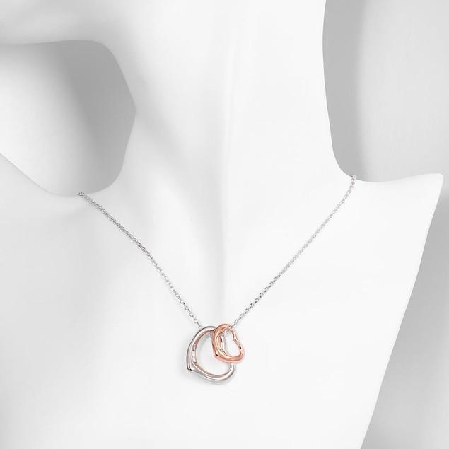 Designer Inspired Rose Gold Plated Interlocking Hearts Necklace