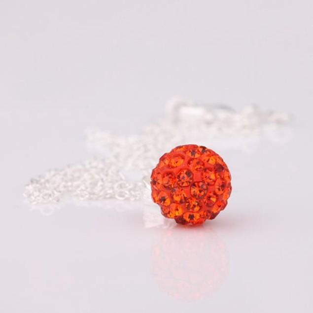 Solid Austrian Stone Pendant - Bright Red