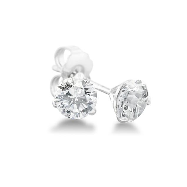 1/3ct Natural Genuine Diamond Stud Earrings In Martini Settling, 14 Karat White Gold