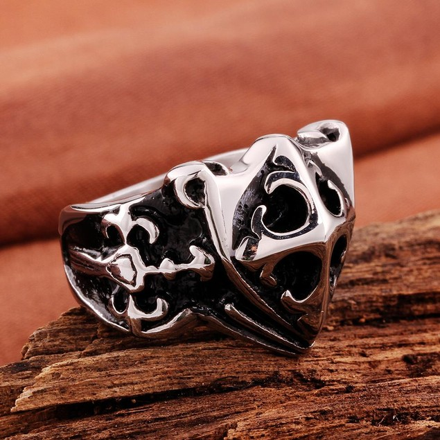 Small Shield Emblem Stainless Steel Ring