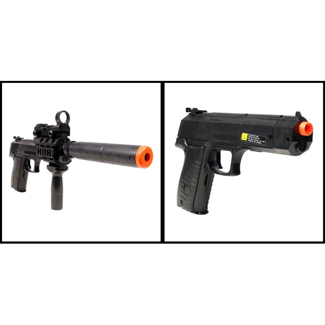 Electric Full Auto Tactical 2030A Pistol FPS-150 Blowback, Barrel Extender, Flashlight, Red Dot Scope Airsoft Gun