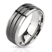 Black Groove Stainless Steel Comfort Fit Mens Band