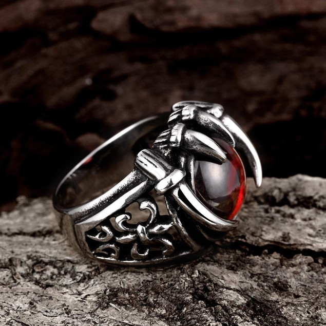 Ruby Red Pearl Stainless Steel Ring