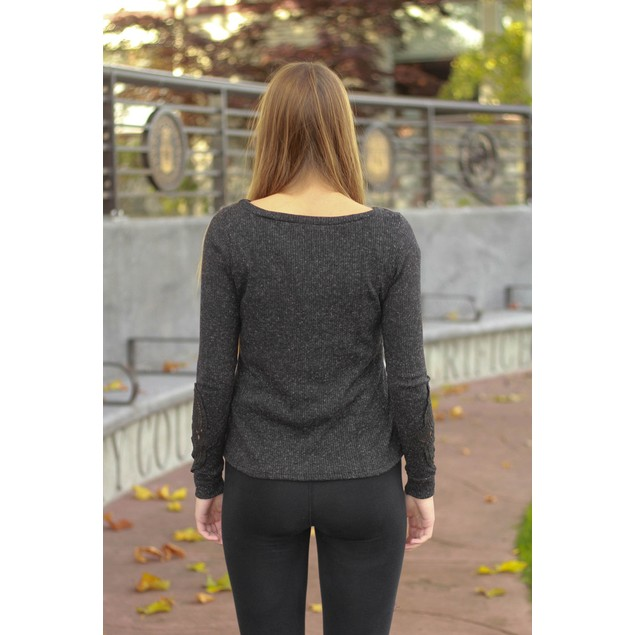 Crochet Long Sleeve Top - 2 Colors