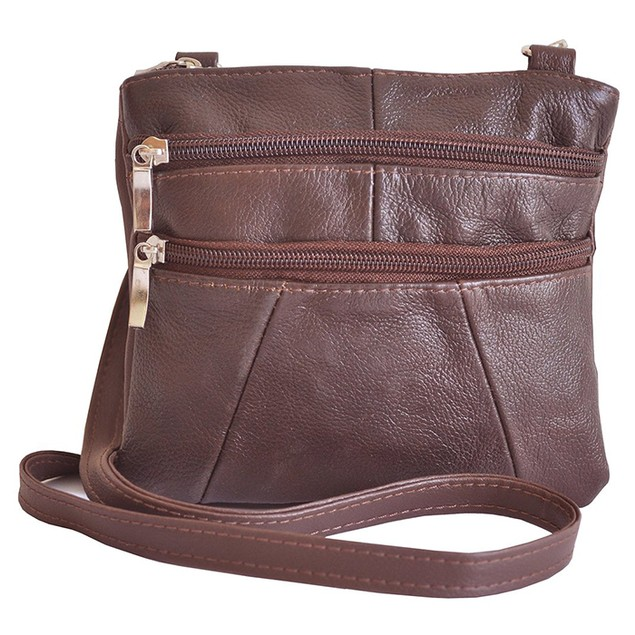 Luxurious, Slim Genuine Leather Crossbody Bag