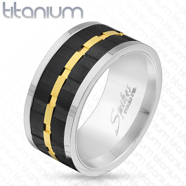 Black & Gold Gear Center Solid Titanium Spinner Ring