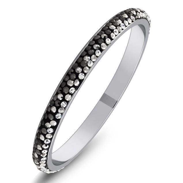 White Gold Plated Crystal Bangle Bracelets - 6 Colors
