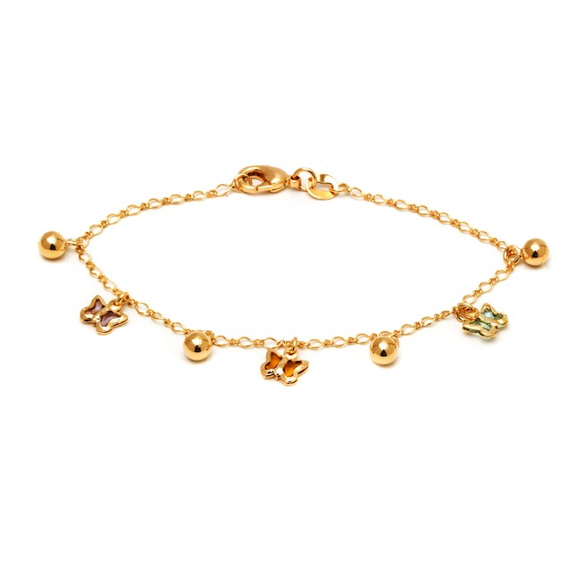 18K Gold Multi Color Crystal Butterfly Anklet