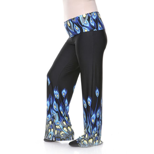 Plus Size Peacock Printed Palazzo Pants