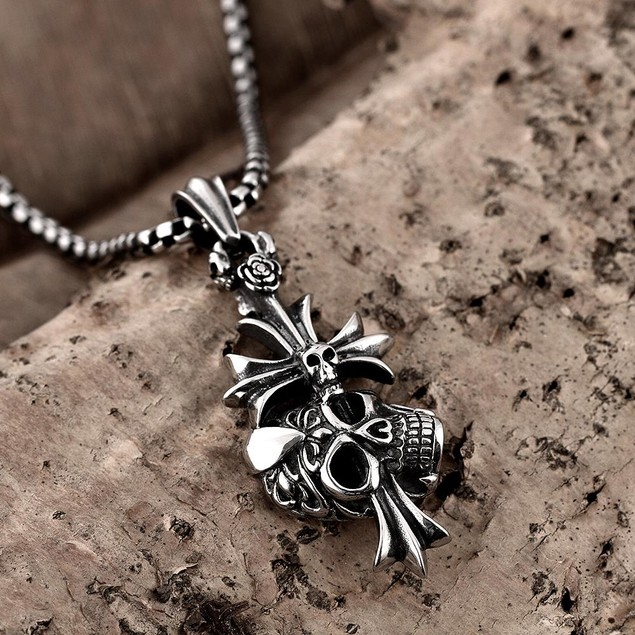 Alpha Steel Abstract Cross Stainless Steel Necklace