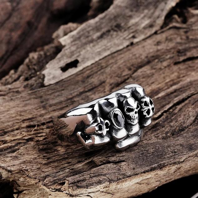 Fistfull of Skulls Stainless Steel Ring