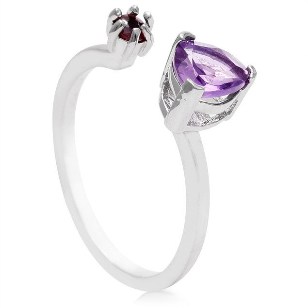 Amethyst and Ruby Open Wrap Ring