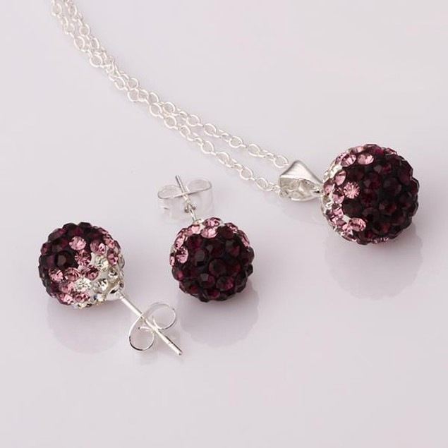 Austrian Stone Multi-Pave Earring Studs and Necklace Set - Purple Crystal