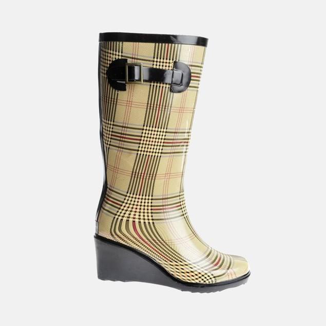 Henry Ferrera Women's Plaid Wedge Rain Boots
