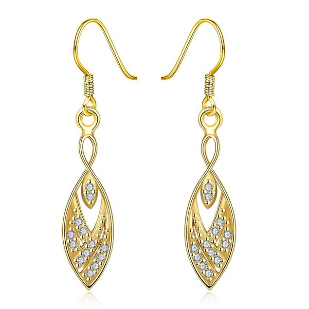 Gold Plated Tree Branch Inspired Drop Down Earrings