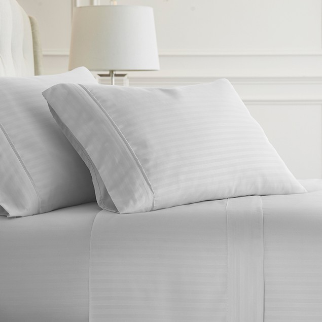 Becky Cameron Dobby Stripe 1800 Series Embossed 4-Piece Sheet Set