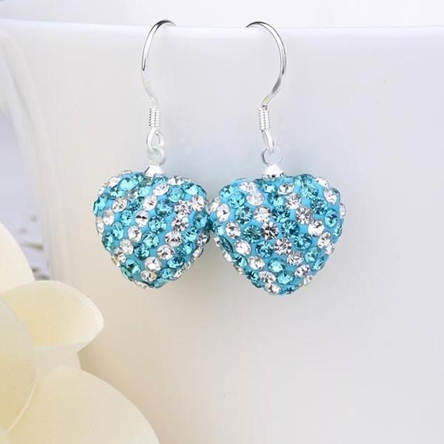 Two Toned Austrian Stone Hearts Drop Earrings -Aqua Blue