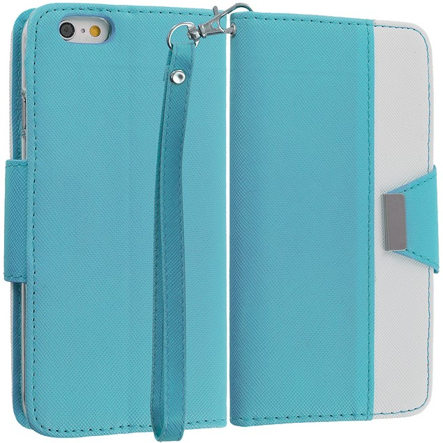 Apple iPhone 6 Plus (5.5) Wallet Pouch Metal Flap Case Cover
