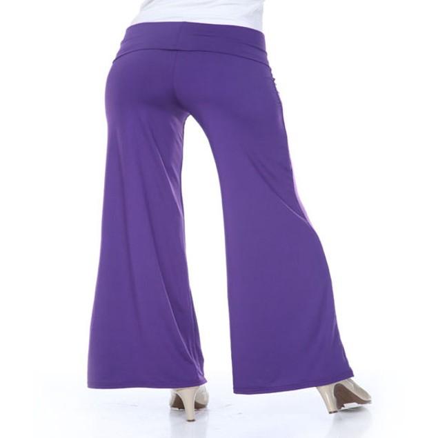 White Mark Purple Plus Size Palazzo Pants