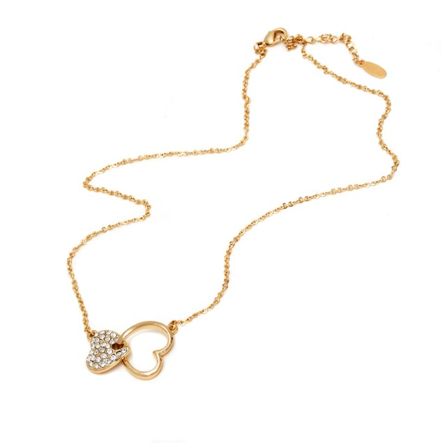 Gold and Sparkle Twin Hearts Necklace