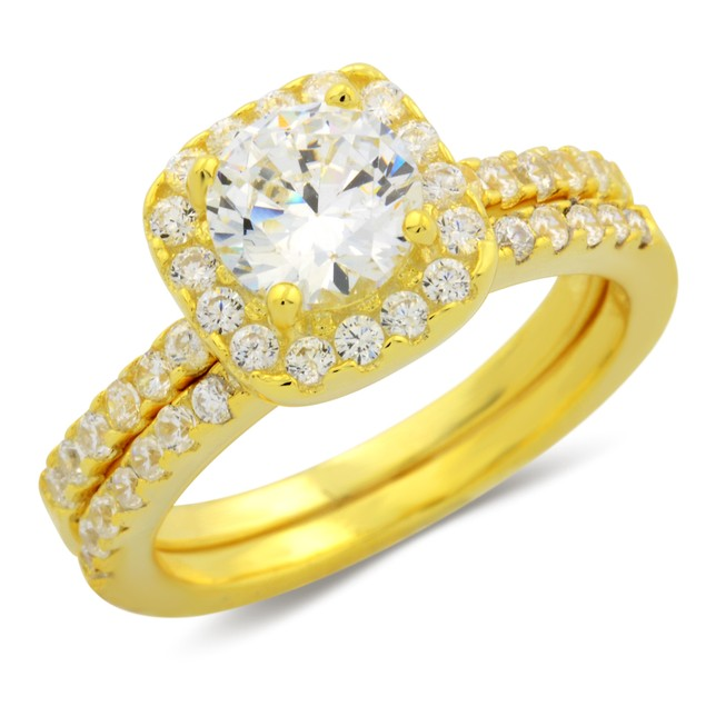 2pc Gold Plated Micro Setting Emerald Cut Ring