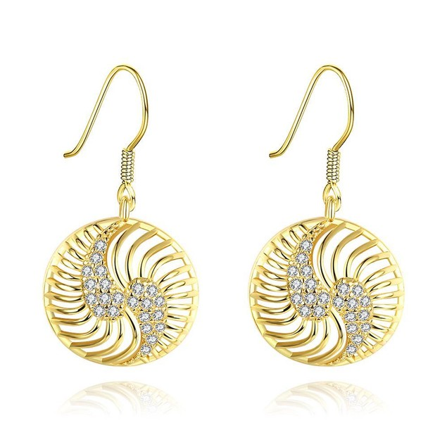 Gold Plated The Circle of Love Drop Down Earrings