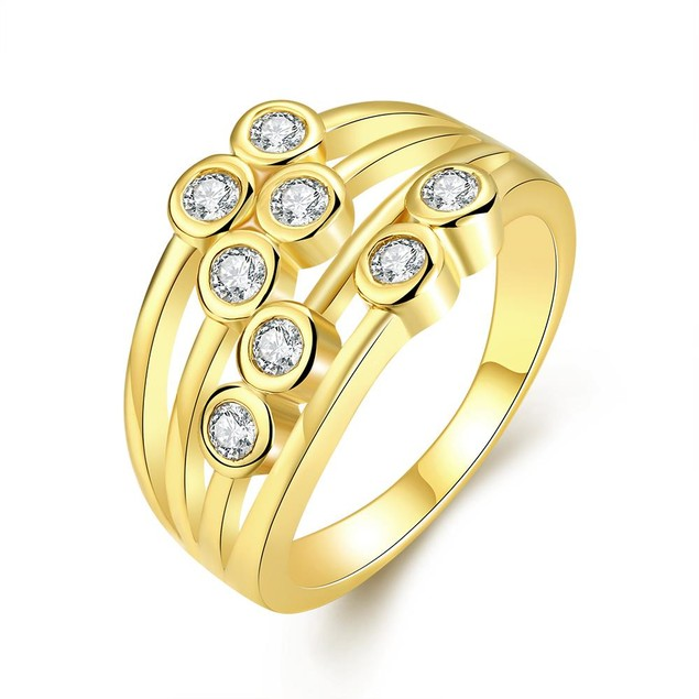 Gold Plated Eight Crystal Jewels Line Ring