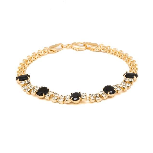 18K Gold Jet & Clear Swarovski Bracelet