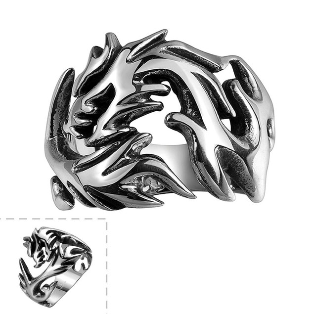 Stainless Steel Abstract Flames Ring