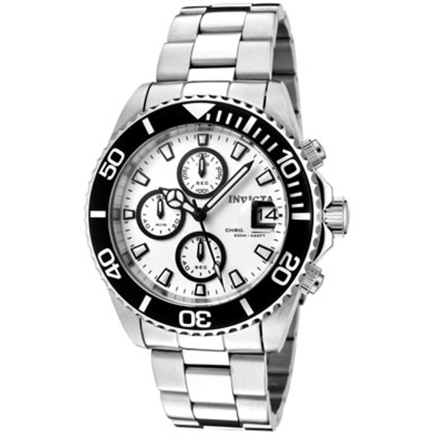 Invicta Men's Pro Diver Chronograph White Dial Stainless Steel