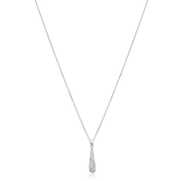 Silver Crystal Drop Necklace