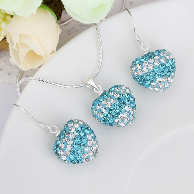 Multi-Pave Heart Drop Earring and Necklace Set - Blue Crystal