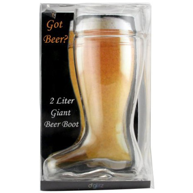 Oktoberfest Style Glass Beer Boot Stein - 2 Liter