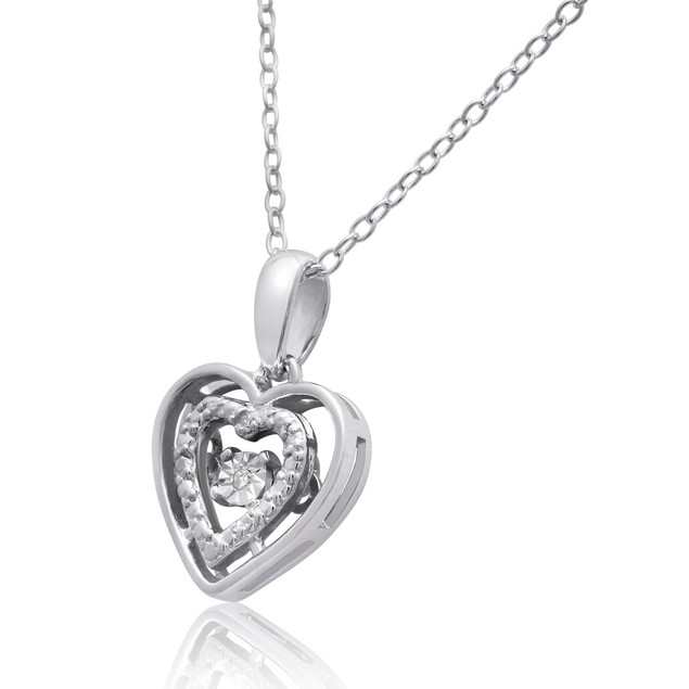 Floating Diamond Halo Heart Necklace In Sterling Silver
