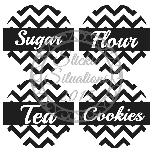 Set of 4 Custom Chevron Canister Labels Design 2