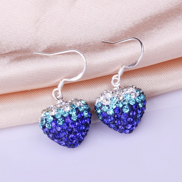 Heart Shaped Austrian Stone Drop Earrings - Dark Blue
