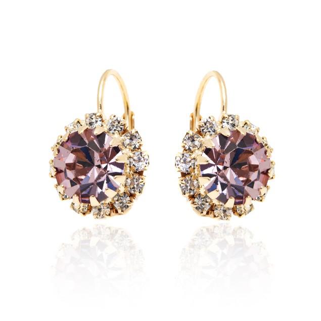 Light Purple Crystal Flower Huggie Earrings