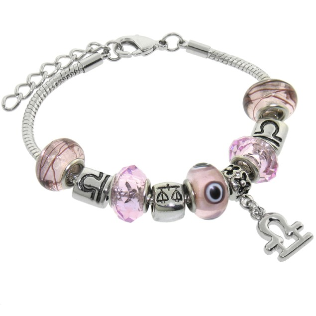 Charmed Feelings Murano Style Glass and Charms Bracelet - Libra