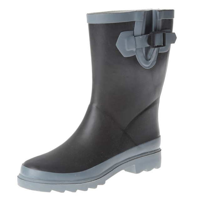 Henry Ferrera Women's Rain Boots - Black Colorblocked Mid-Calf