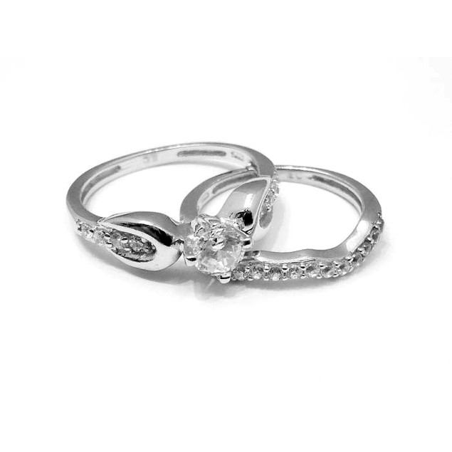 Sterling Silver CZ Engagement Ring Set