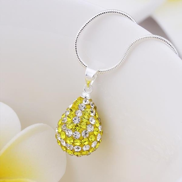 Multi-Toned Austrian Stone Pear Necklace - Yellow Citrine