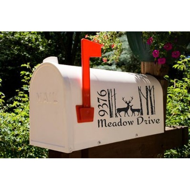 Deers in the Trees Mailbox Decal