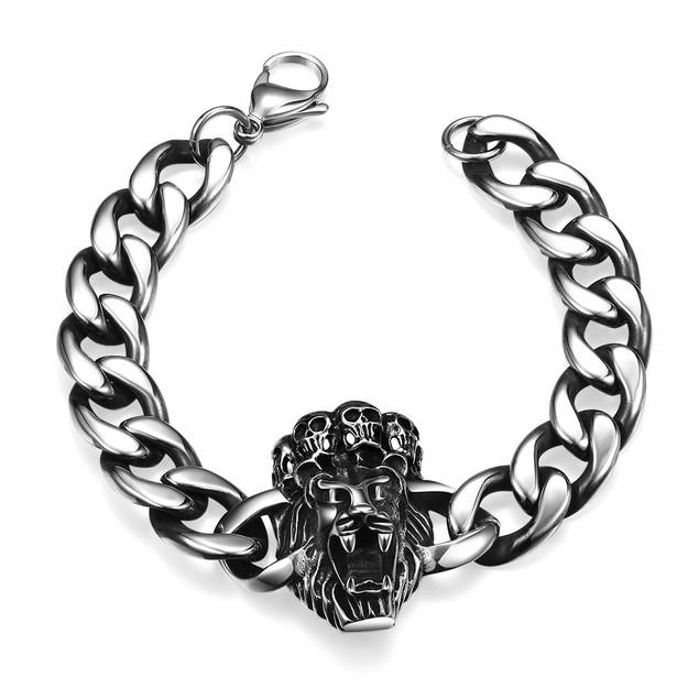 Lion Heart Emblem Stainless Steel Bracelet
