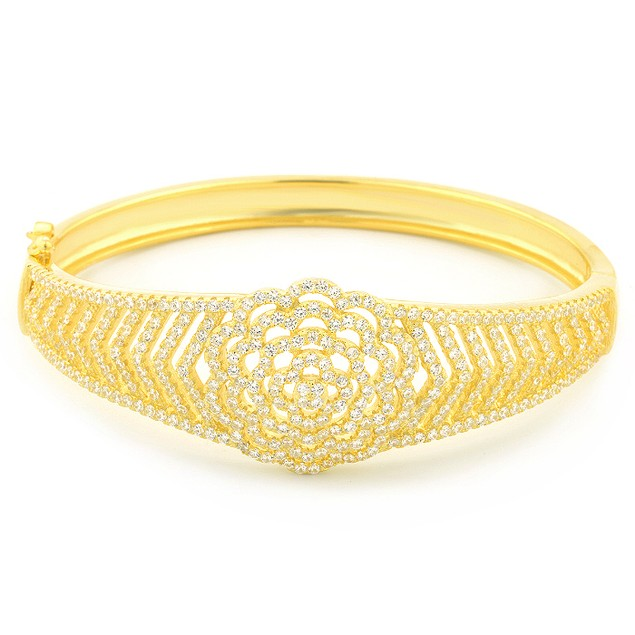 18K Gold Over Sterling Silver Micro Pave Flower Design Bangle