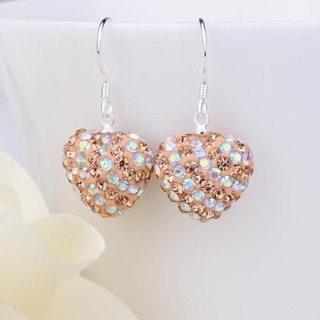 Two Toned Austrian Stone Hearts Drop Earrings -Dark Champagne