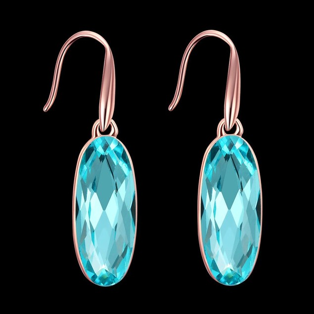 Rose Gold Plated Imitation Topaz Drop Earrings