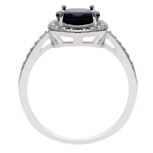 Sapphire and Halo Diamond Ring in Sterling Silver