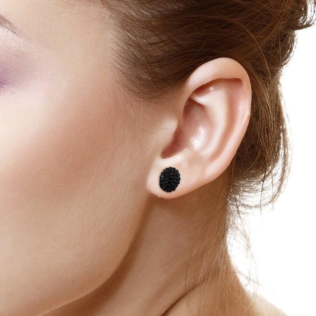 Sterling Silver Sparkling Crystal 10mm Stud Earrings - Oval Jet Black