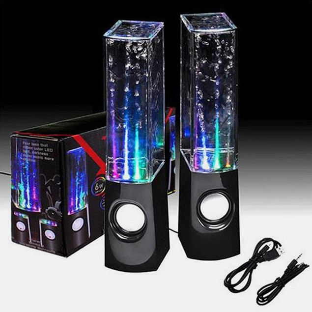 2-Pack Portable LED Dancing Water Speakers