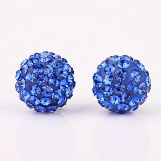Vivid Light Austrian Stone Blue Stud Earrings